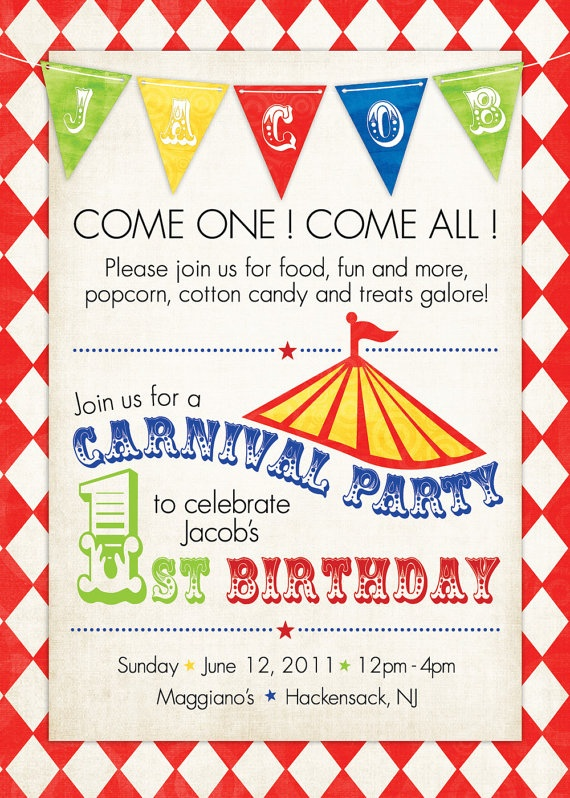 Vintage Circus and Carnival Invitations Carnival themes Carnival