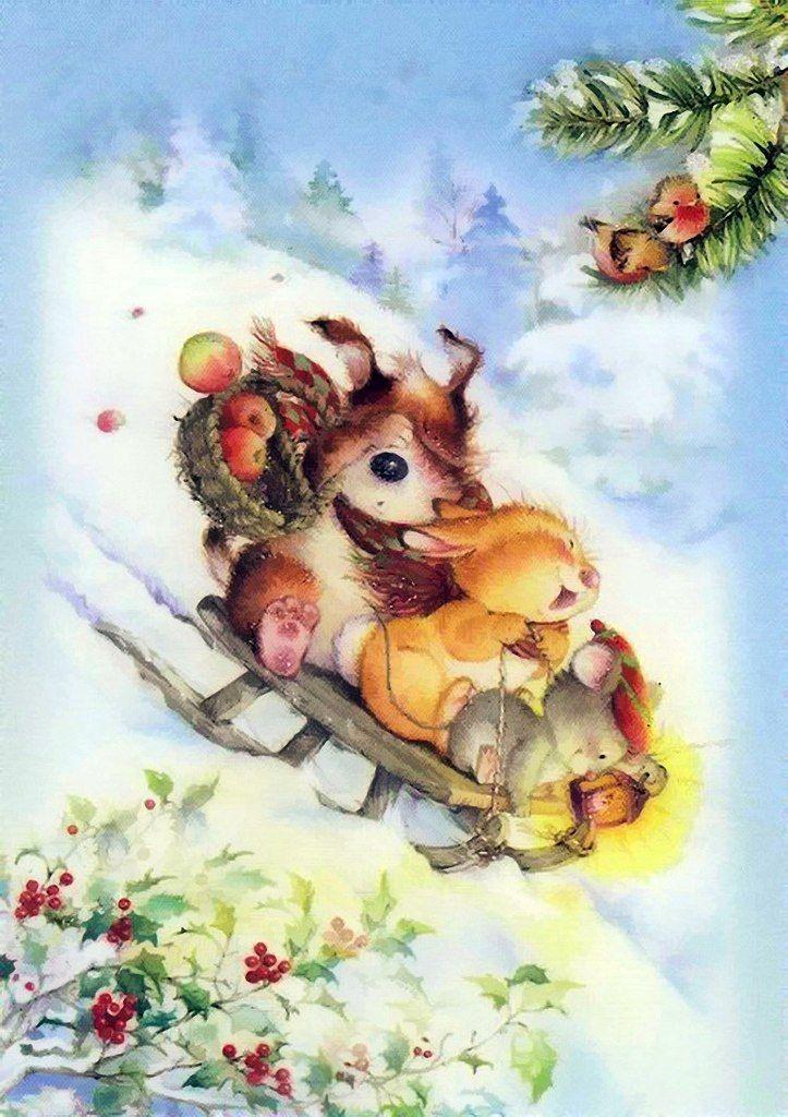Двойка анимация, рождественские открытки с животными