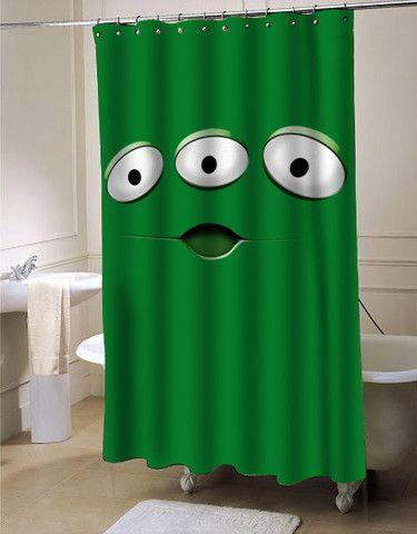 alien monster shower curtain customized design for home decor