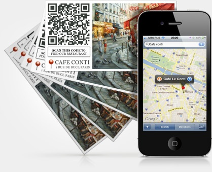Geolocation based QR code stickers with the address or