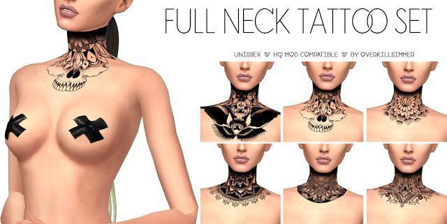 Sims 4 CC's – The Best: Full Neck Tattoo Set by Overkill Simmer   – Alles nützliche für Sims 4
