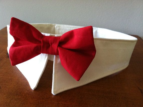 Red Bow Collar Handmade Dog Bow Tie Collar Dog Ring by MaudeMarie