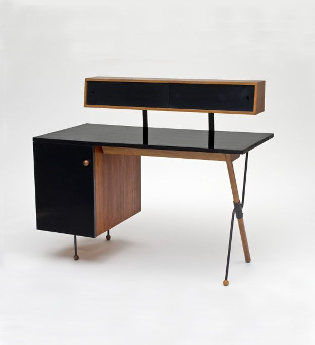 Greta Magnusson-Grossman, Desk with storage unit, 1952-54. Walnut, iron, formica. Glenn of California, USA. Via LACMA