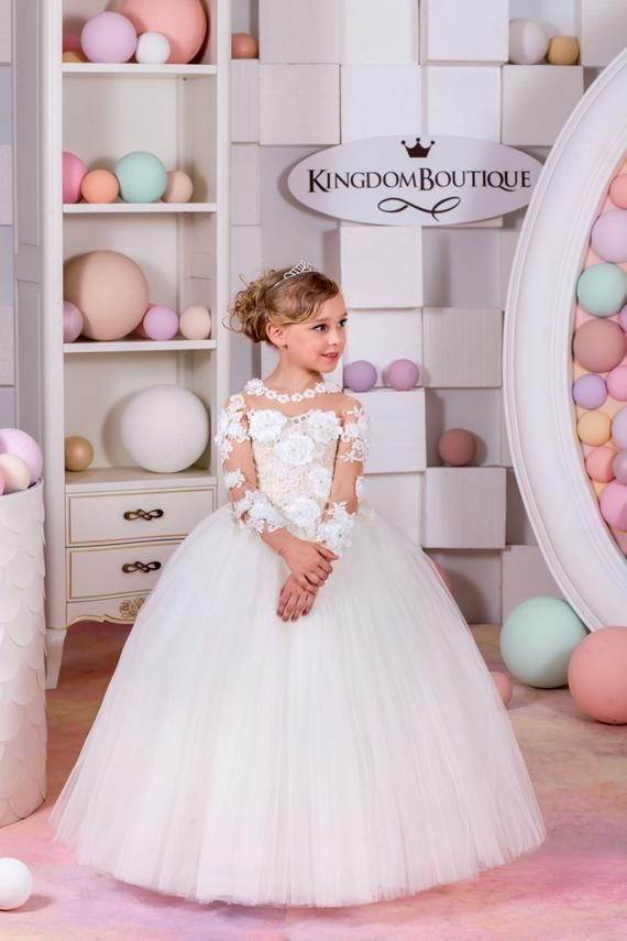187aaa2013681 Ivory and Nude Lace Flower Girl Dress - Wedding party Holiday Bridesmaid Birthday  Ivory Flower Girl