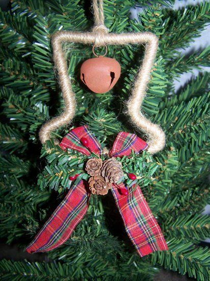 Set of three snowman hats primitive country Christmas tree ornaments with rusty bells. Each ornament is wrapped with rope, has a Christmas bow with na