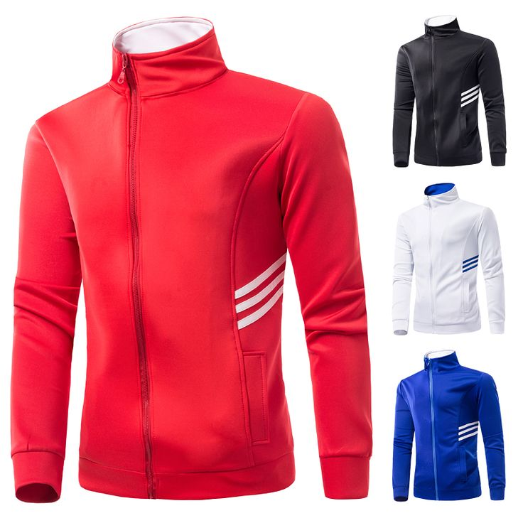Mens casual casual jackets casual coats zipper design three striped sportswear solid outwear men's clothing size M-XXXL WS551