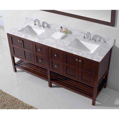 """Winterfell 72"""" Double Sink Bathroom Vanity in Cherry by Virtu USA   Discount Bathroom Vanities"""