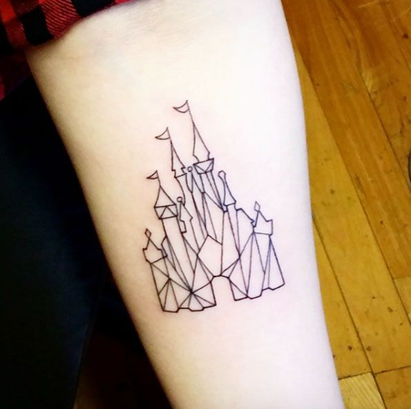 Geometric Disney Castle Tattoo by SangIm