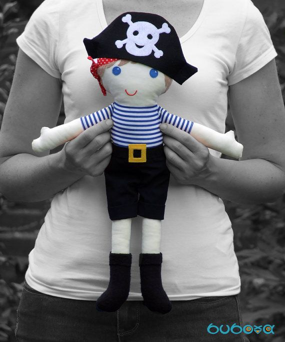 Pirate Boy Fabric Doll With Removable Hat Trousers & by buboxa