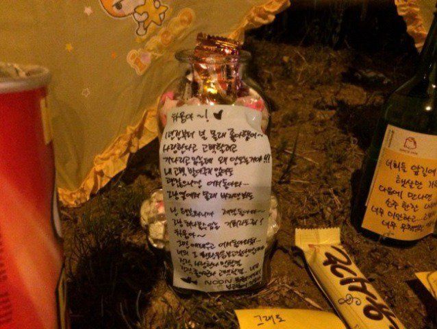 """zerostates:  Jeong Chawoong, The first dead student found in Sewol Ferry, was a brave man who gave his livejacket to his friend and went back into water to save other friends in cabin. On his desk in the classroom in Danwon High, we found a bottle full of paper stars and a love letter on it. """"Dear Chawoong! I had a crush on you for a year. I was going to tell you I love you, but why aren't you coming back? I'm waiting for you… I don't care if you turn down on me, just come back… I'll b..."""