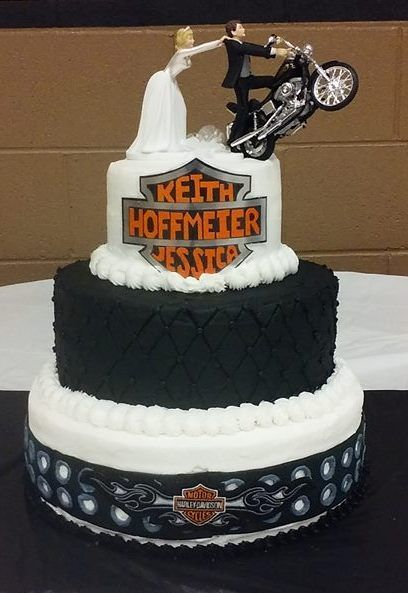 3 tiered Harley Davidson wedding cake, all buttercream icing