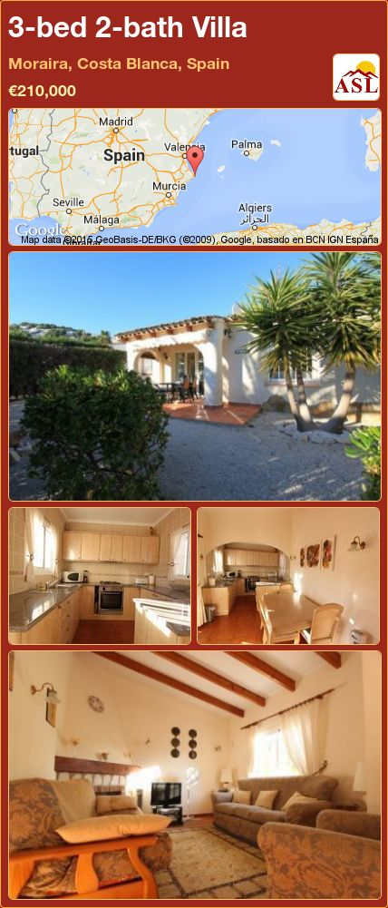 3-bed 2-bath Villa in Moraira, Costa Blanca, Spain ►€210,000 #PropertyForSaleInSpain