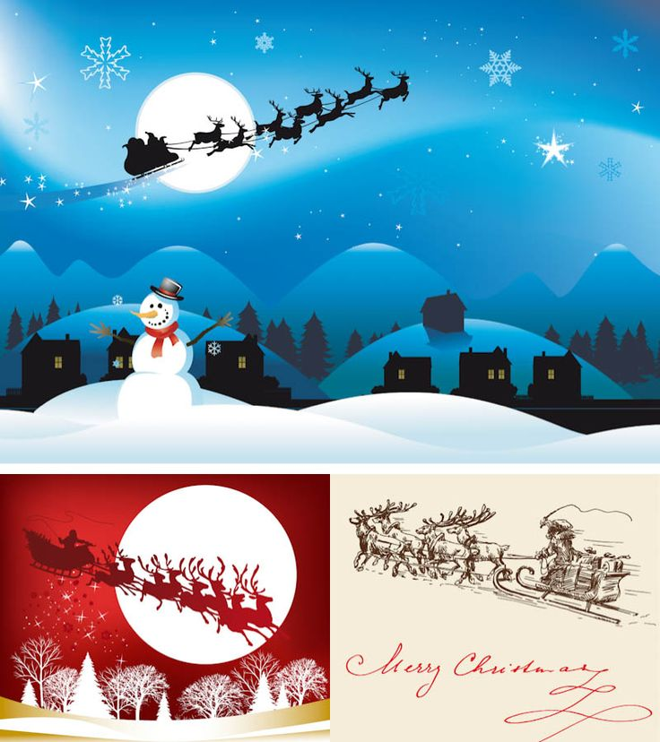Santa on a sleigh illustrations vector