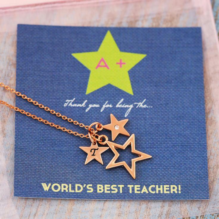 Teachers gift | Teacher card | Charm jewellery | Rose Gold Necklace | FREE UK Shipping | Teacher Gifts | Necklace UK | Gift for teacher by JSCharmJewellery on Etsy