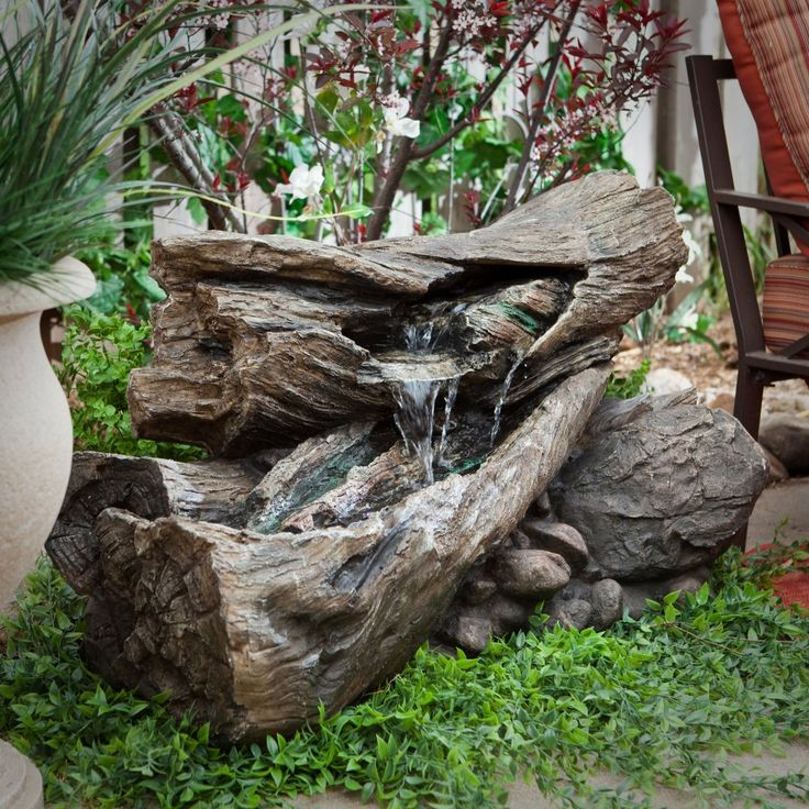 Alpine Teton Waterfall Outdoor Fountain   Looking Like Real Pieces Of  Stacked Logs, The Alpine Indoor/Outdoor Lighted Faux Stone Fountain Will  Make A Nice ...