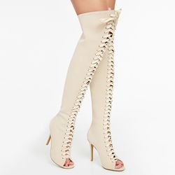 Beige Lace Up Thigh High Sandal Boots
