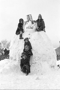 This giant 12-ft high snowman built in the car park of the Anchor Inn at Whittonstall took ten children two days to build, with a little help from some adults. An oil drum was used for his hat, Christmas tree branches for the hair and beer keg tops for eyes, nose, mouth and buttons. (Edition: February 24, 1978).