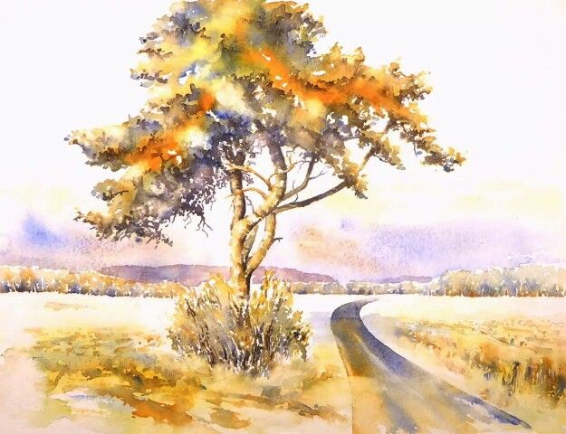 Watercolor painting landscape tree field road path fall ...