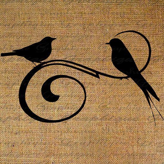 Pretty Birds Silhouette On Swirl Bird Digital Image Download Transfer To Pillows Tote Tea Towels Burlap No. 2196