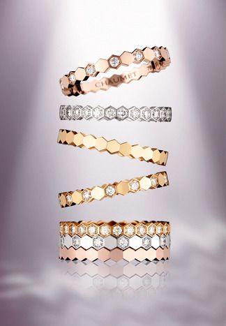 13 bagues Bee My Love en or rose, gris ou jaune et diamants, Chaumet.