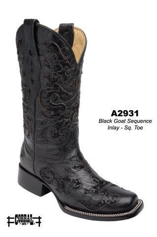 Corral Black Goat Square Toe Women's Cowgirl Boots - HeadWest Outfitters