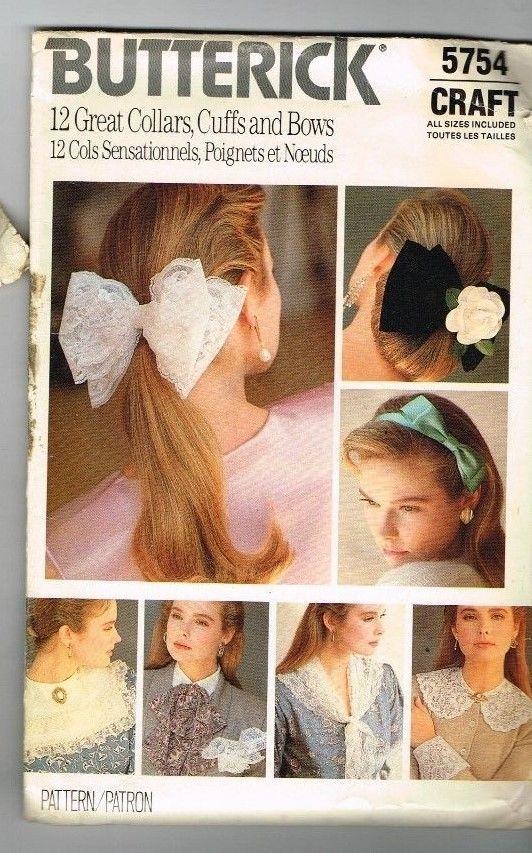 Butterick 5754 Collars Cuffs Bows 1987 Vintage Hair Bows Uncut Craft 1980's  #Butterick