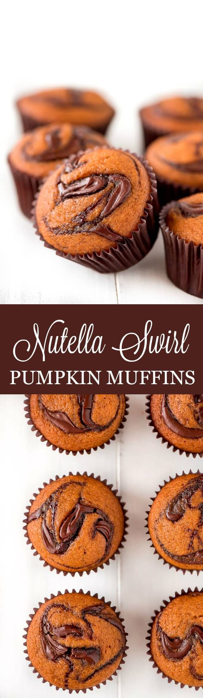 Start your day with a batch of Nutella Swirl Pumpkin Muffins! This moist pumpkin muffin is taken to the next level with swirls of Nutella on top and middle.