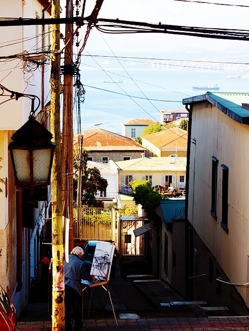 Un pintor, en Valparaiso
