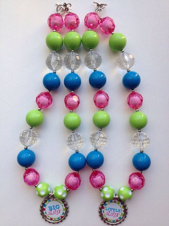 Big sister little sister chunky necklace.. Chunky by GirlzNGlitter, $17.50