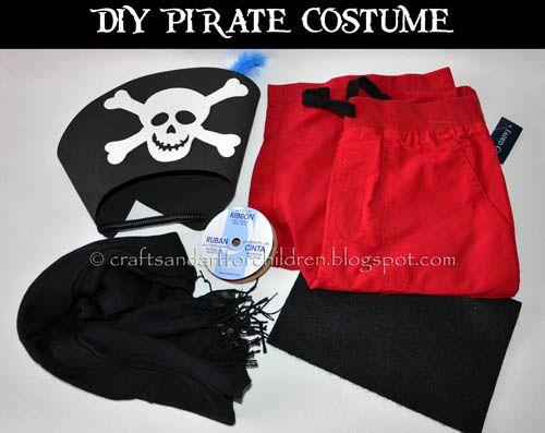 Homemade No Sew Pirate Costume for Kids #pretendplay #kidshalloweencostume