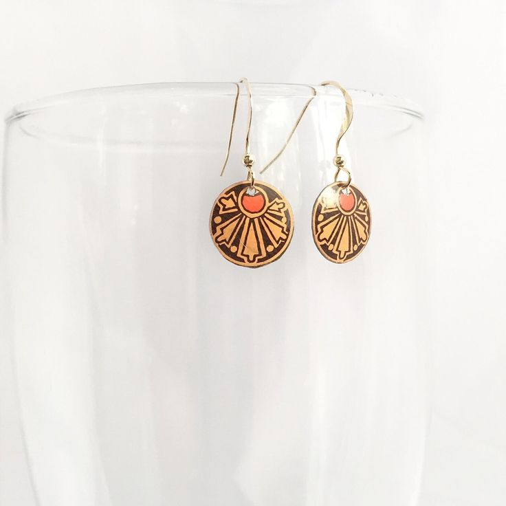 Round Art Nouveau earrings - Recycled from an antique Huntley Palmers cookie tin. Vintage tin jewelry by www.cellardoorshoppe.com