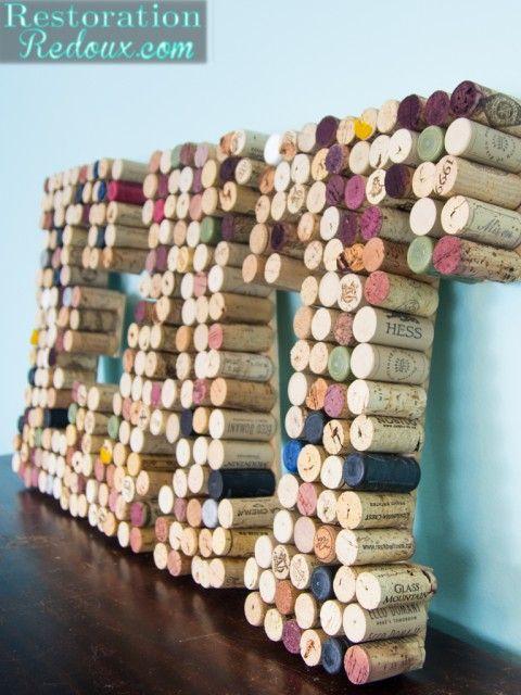 Wine Cork Letters http://www.restorationredoux.com/?p=9248