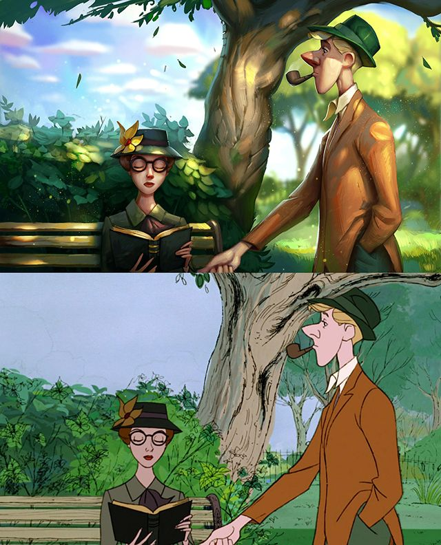 Artist Recreates Stills From Classic Disney Movies by Digitally Painting Over Top of Them