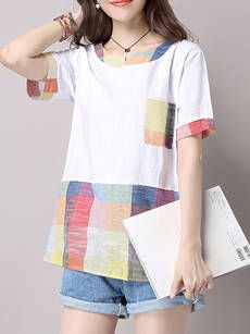 Loose Casual Round Neck Plaid Blouse
