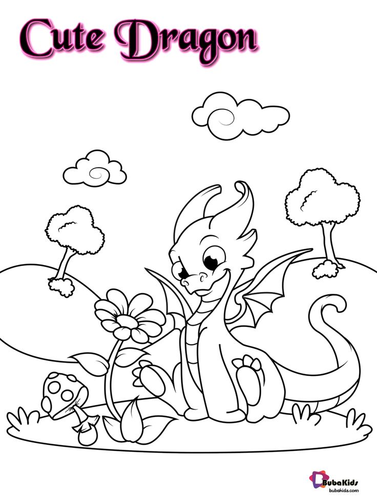 Free And Printable Cute Dragon And Flower Coloring Page Collection Of Cartoon Coloring Pages Dragon Coloring Pages Coloring Pages Dragon Flower Coloring Pages