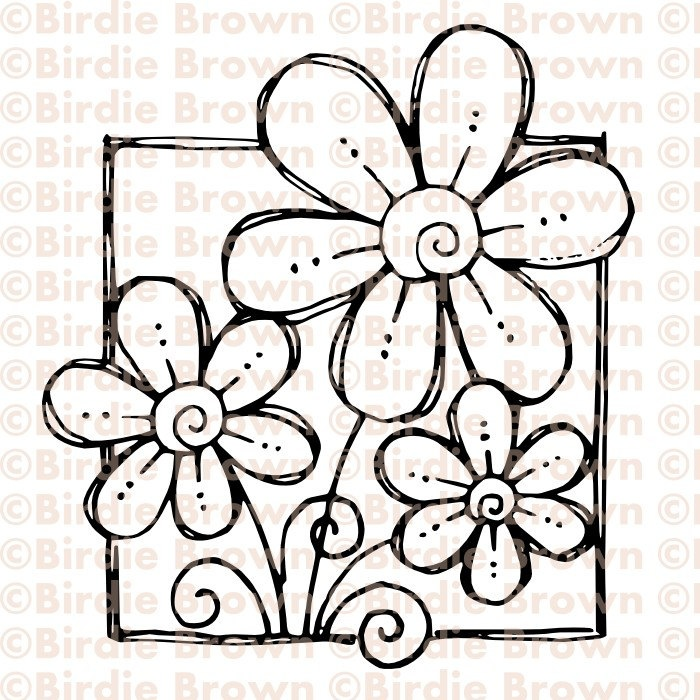 Digital stamp -- Doodled Flower. $2.50, via Etsy.