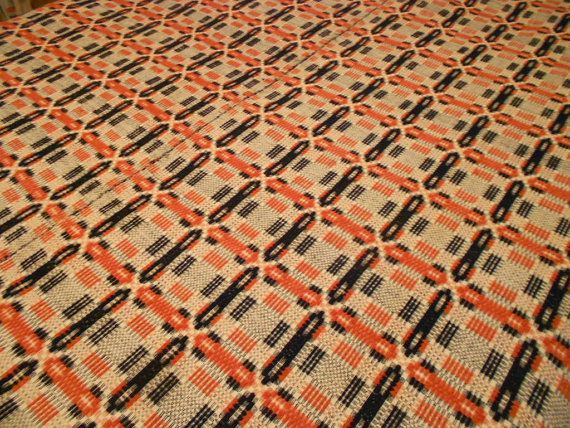 Antique Coverlet Summer/Winter Wool Loomed Textile 1800u0027s Indigo Cream Rust
