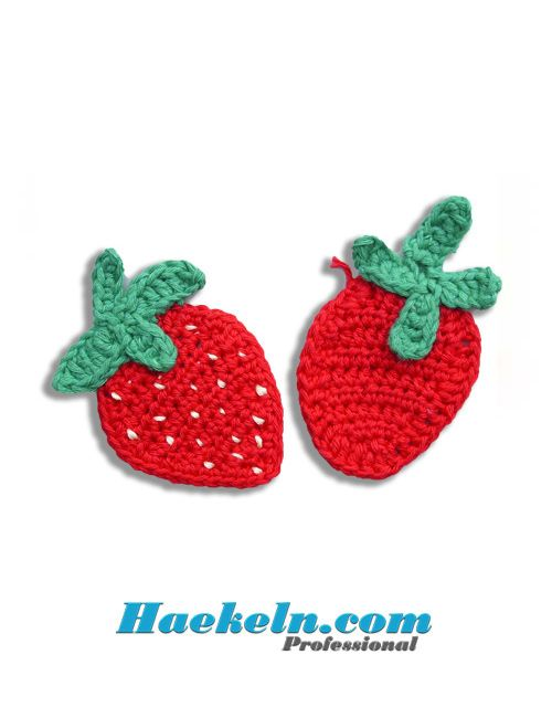 Häkeln Häkelapplikation ♥ Erdbeeren Anleitung Applikation ♥ Kostenlose Häkelanleitung ✔✔✔ Vorlage #häkeln #häkelanleitung #häkelapplikation #kostenlos #applikation #erdbeeren