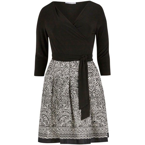Gina Bacconi Aztec Print Wrap Dress, Black/White ($210) ❤ liked on Polyvore featuring dresses, fit and flare dress, long-sleeve mini dress, 3/4 sleeve dress, maxi dress and plus size wrap dress