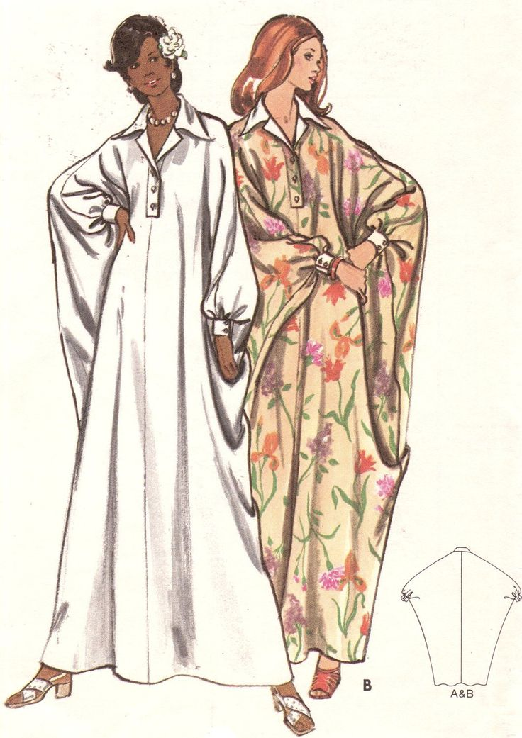 Vintage 1970s Misses Caftan Size Large 16-18 Butterick 3134 Sewing Pattern Dress 70s. $12.00, via Etsy.