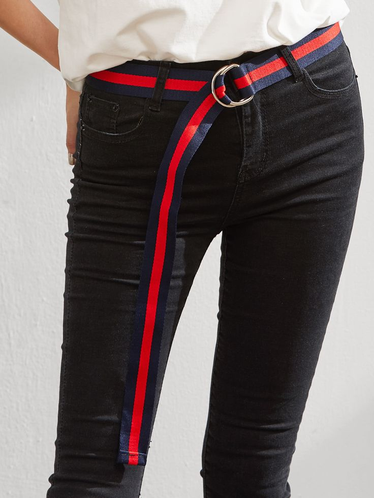Shop Block Striped Double D Ring Belt online. SheIn offers Block Striped Double D Ring Belt & more to fit your fashionable needs.