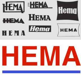 Some logos of the department store HEMA since 1926 at a glance.