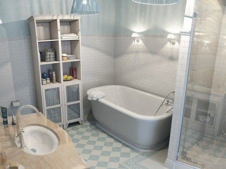 Patterned floor tiles for bathroom flooring