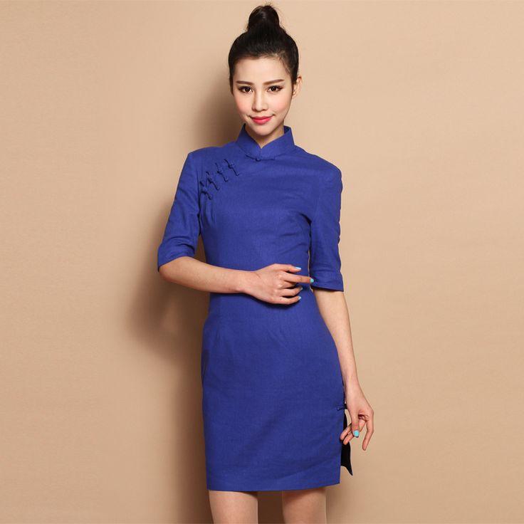 Custom Made Wonderful Blue Cotton Flax Cheongsam Qipao Dress - Qipao - Cheongsam - Women