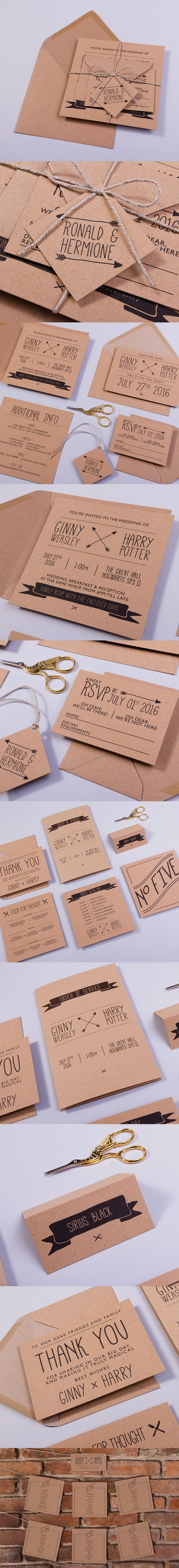 THE BURROW, loosely based on a Harry Potter theme, this wedding invitation and stationery collection captures all of the charm of the Weasley family home 'The Burrow', with a rustic feel. Perfect for a shabby chic, whimsical or rustic wedding.