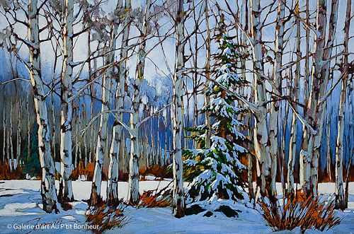 David Langevin, 'You Guys aren't doing a Very Good Job of Hiding Me. What if a Christmas Tree Hunter Comes Along?', 20'' x 30'' | Galerie d'art - Au P'tit Bonheur - Art Gallery