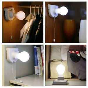 Stick Up Bulb Cordless Battery Operated Light Cabinet Closet Lamp Home Use DI