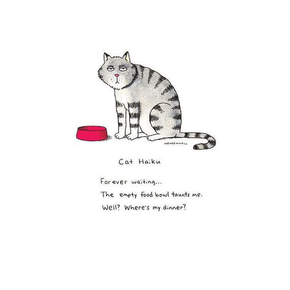 Hipster Cat Haiku Cat Poetry Funny Kitty by DrawnFromMyBrain