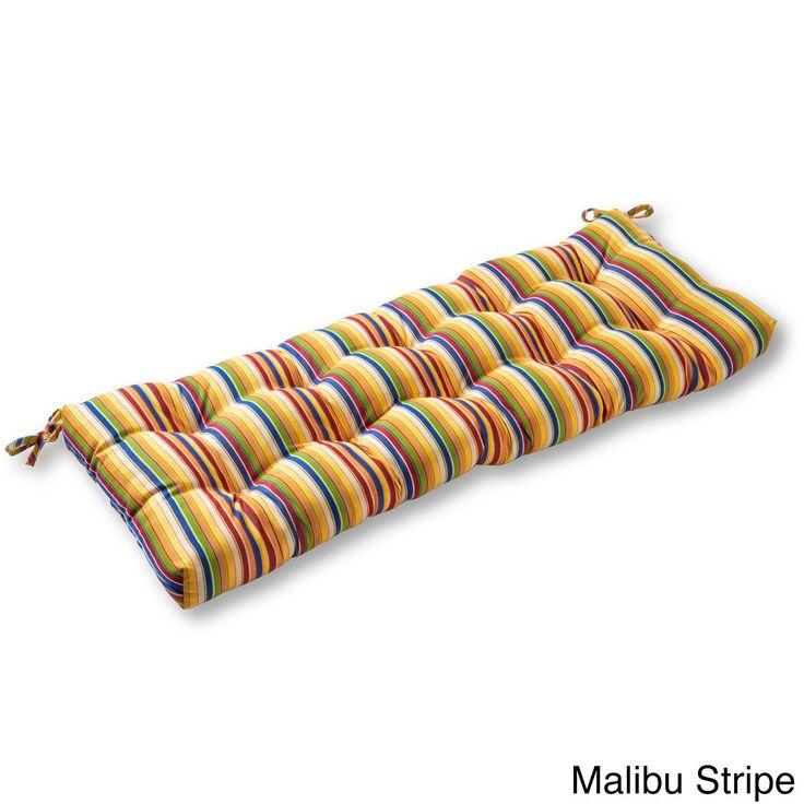 46 Sunbrella Outdoor Swing/Bench Cushion Stripes (Malibu Stripe), Multi  (Acrylic), Outdoor Cushion