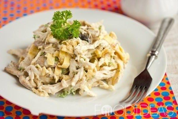 Блинный салат с копченой курицей   Застолье-онлайн